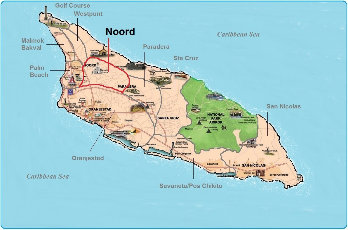 real estate indicated map of Noord, Aruba