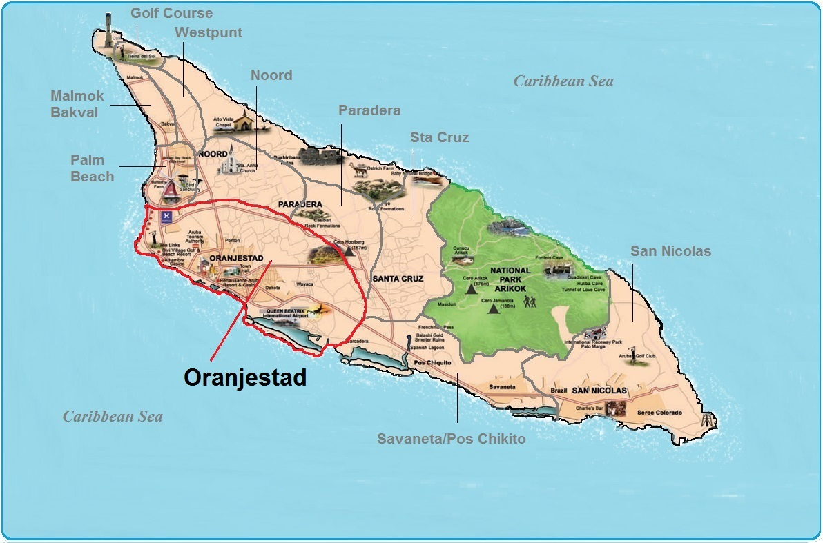 Aruba Real Estate and Property in Oranjestad for Homes Oranjestad Map