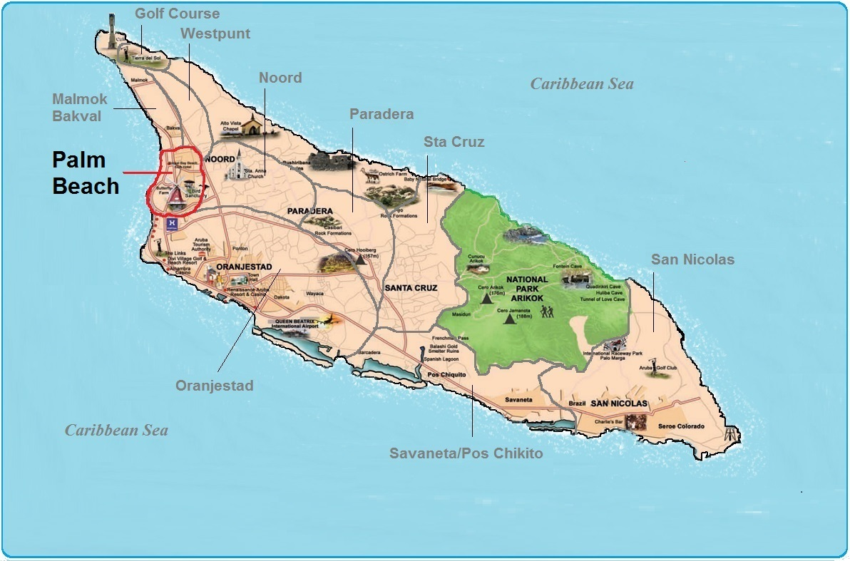 real estate indicated map of Palm Beach, Aruba