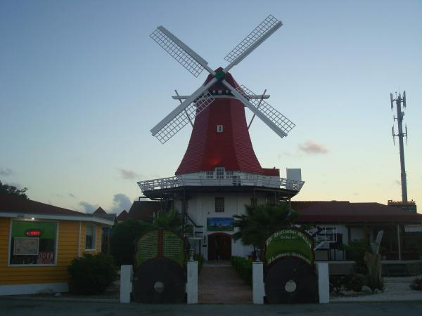 Front View of the Olde Molen Windmill Aruba