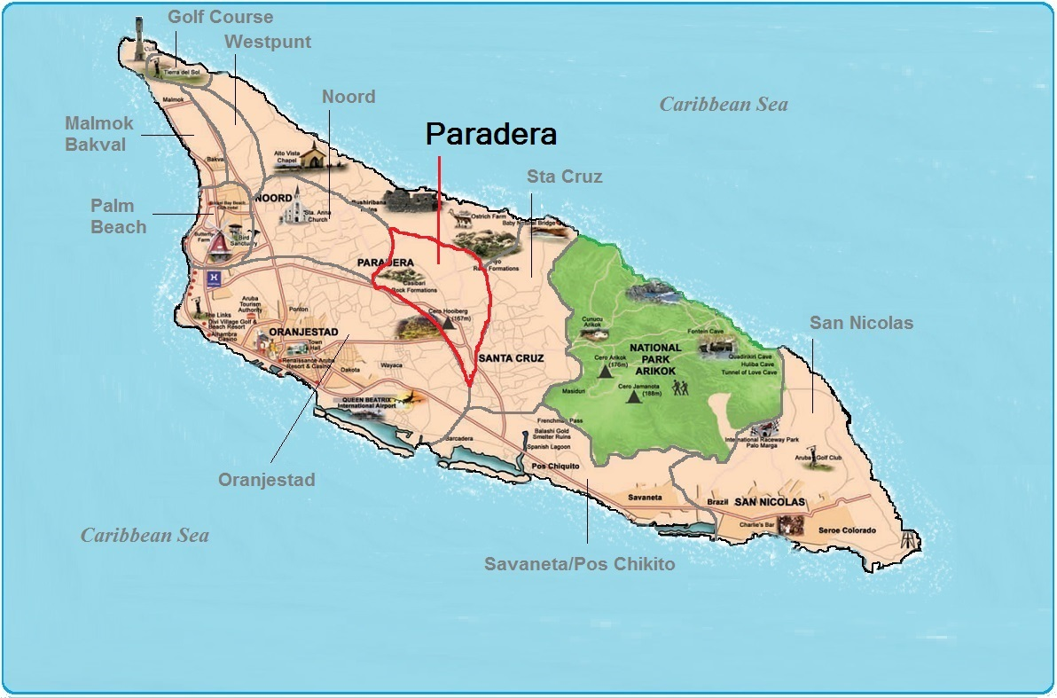 real estate indicated map of Paradera, Aruba
