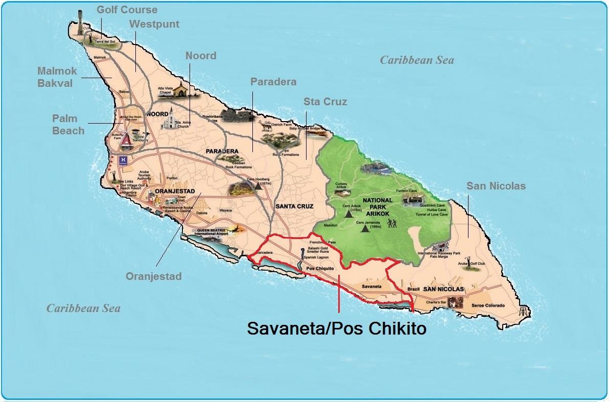 real estate indicated map of Savaneta, Aruba