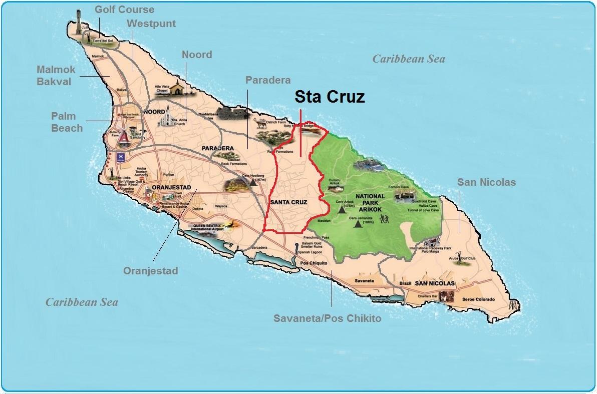 real estate indicated map of Sta Cruz, Aruba