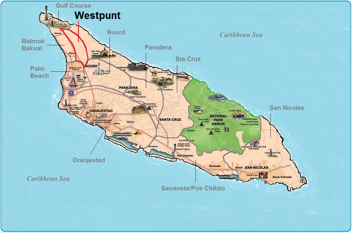 real estate indicated map of Westpunt, Aruba